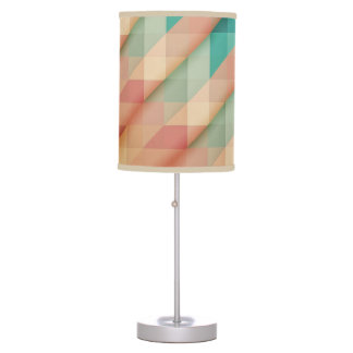 Peach and Green Abstract Geometric Table Lamp