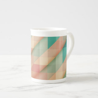 Peach and Green Abstract Geometric Tea Cup