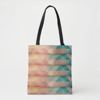 Peach and Green Abstract Geometric Tote Bag