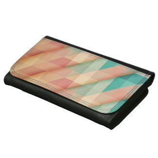 Peach and Green Abstract Geometric Wallet