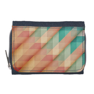 Peach and Green Abstract Geometric Wallets