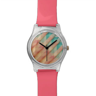 Peach and Green Abstract Geometric Watch