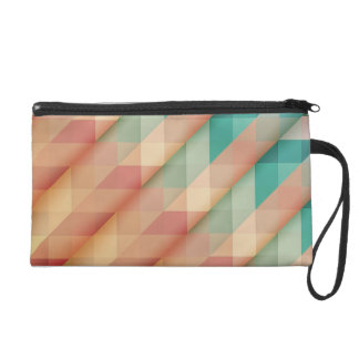 Peach and Green Abstract Geometric Wristlet