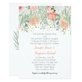 Peach and Green Floral Gold Sparkles Wedding Card