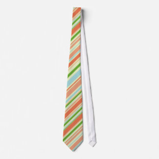 Peach and Green Striped Tie