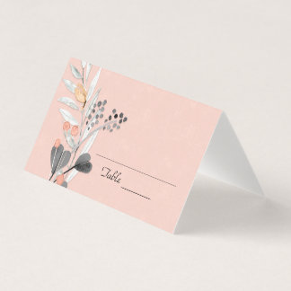 Peach and Grey Floral Place Card