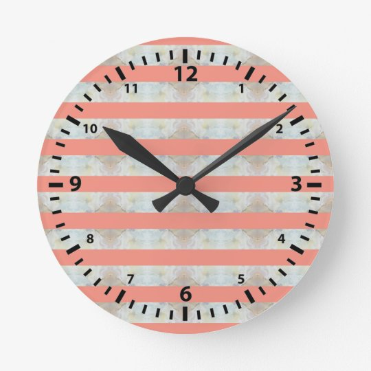 Peach And Marble Stripes Pattern Round Clock