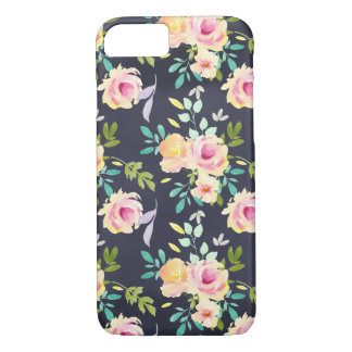 Peach and Navy floral phone case