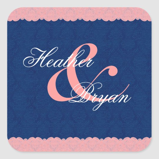 Peach and Navy Lace Wedding Custom Monogram V66 Square Sticker