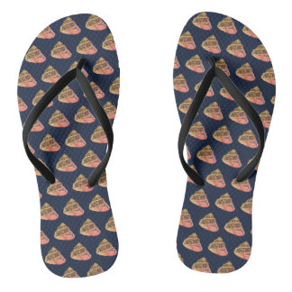 Peach and Navy Seashell Pattern Flip Flops