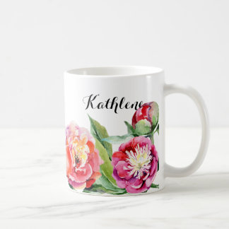 Peach and Pink Floral Watercolor Coffee Mug