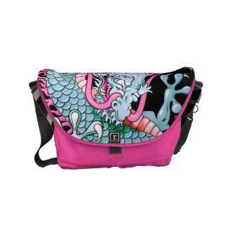 Peach and Pink Japanese Dragon Tattoo Wind Bars Courier Bag