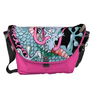 Peach and Pink Japanese Dragon Tattoo Wind Bars Courier Bags
