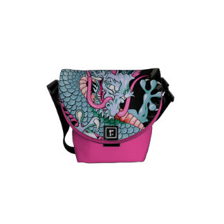 Peach and Pink Japanese Dragon Tattoo Wind Bars Messenger Bags