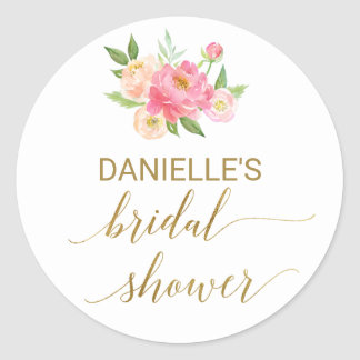 Peach and Pink Peony Flowers Bridal Shower Classic Round Sticker