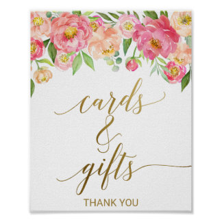 Peach and Pink Peony Flowers Cards and Gifts Sign Poster