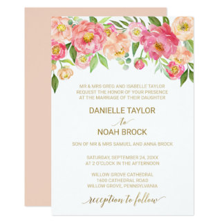 Peach and Pink Peony Flowers Formal Wedding Card