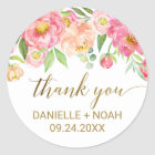 Peach and Pink Peony Flowers Thank You Favour Classic Round Sticker