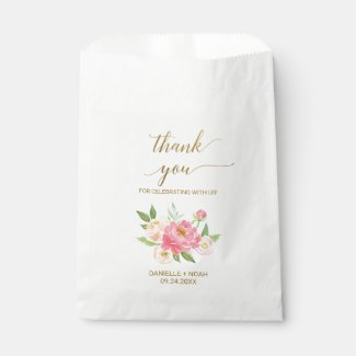 Peach and Pink Peony Flowers Wedding Favour Bags