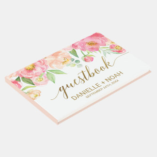 Peach and Pink Peony Flowers Wedding Guest Book