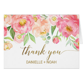 Peach and Pink Peony Flowers Wedding Thank You Card