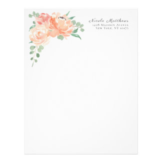 Peach and Pink Watercolor Floral Personalized Letterhead