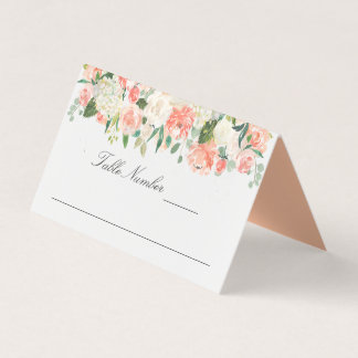 Peach and Pink Watercolor Peonies and Roses Place Card