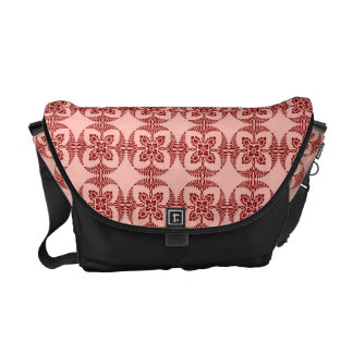 Peach and Red Floral Geometric Messenger Bags