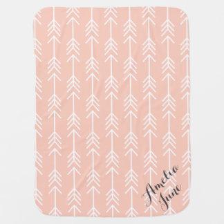 Peach and Seafoam Arrows Monogram Baby Blanket