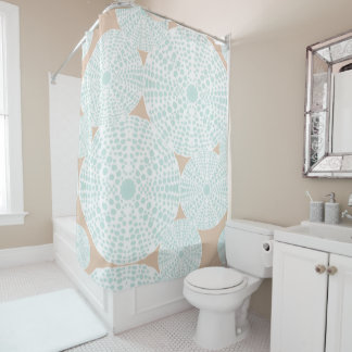Peach and Teal Sea Urchin Shower Curtain