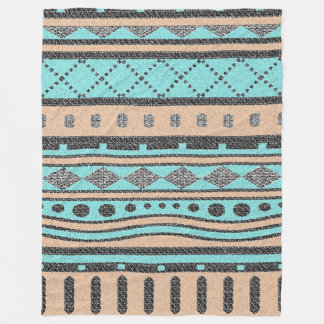 Peach And Turquoise Tribal Pattern Fleece Blanket