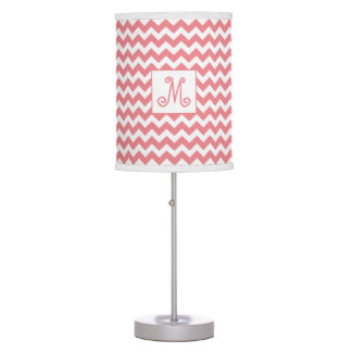 Peach and White Chevron Pattern with Monogram Table Lamp