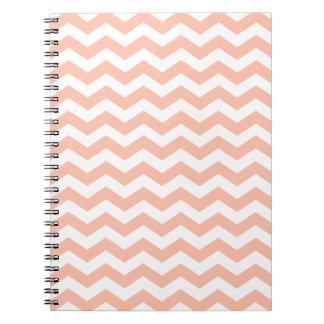 Peach and White Chevron Stripes Spiral Notebooks