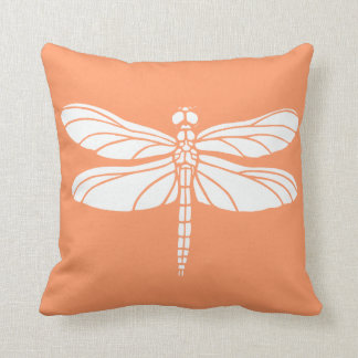 Peach and White Dragonfly Throw Pillow