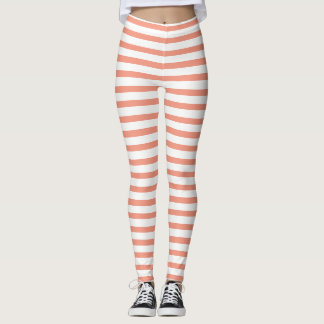 Peach And White Striped Leggings