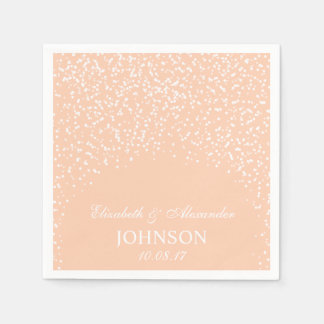 Peach and White Wedding Confetti Pattern Paper Napkins