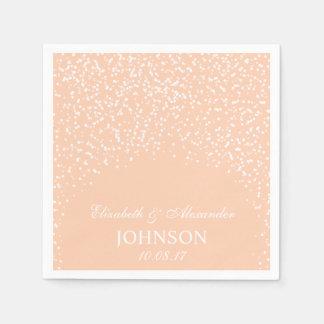 Peach and White Wedding Confetti Pattern Paper Napkins