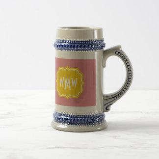 Peach and Yellow Custom Monogram Stein Mug