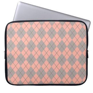 Peach Argyle Laptop Sleeve