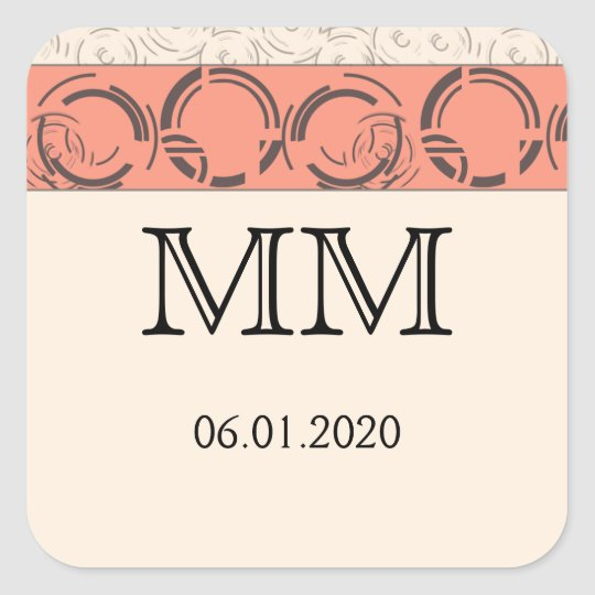 Peach Art Deco Circles Monogram Sticker