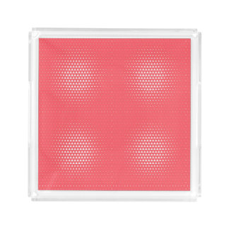 Peach Background White Triangles Pattern Acrylic Tray