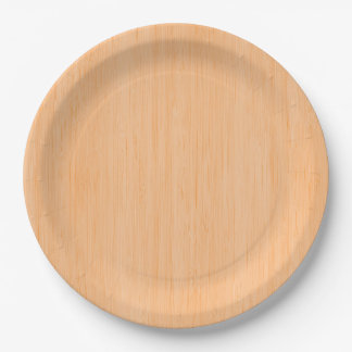 Peach Bamboo Wood Grain Look 9 Inch Paper Plate