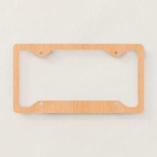 Peach Bamboo Wood Grain Look Licence Plate Frame