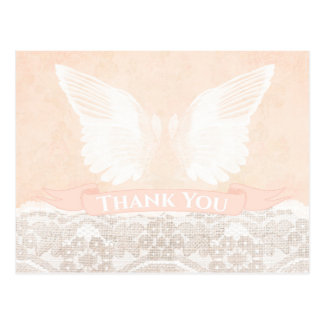 peach baptism thank you, christening thank you postcard