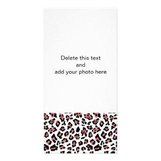 Peach Black Leopard Animal Print Pattern Photo Card Template