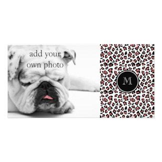 Peach Black Leopard Animal Print with Monogram Customized Photo Card