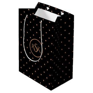 Peach & Black Polka Dots Monogram Medium Gift Bag