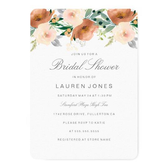 Peach Blossom Floral Bridal Shower Invitation