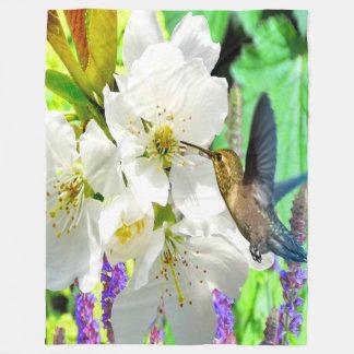 Peach Blossom Hummingbird Fleece Blanket