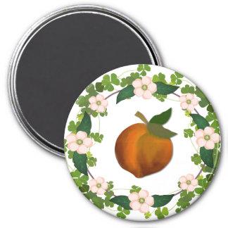 Peach blossom wreath magnet